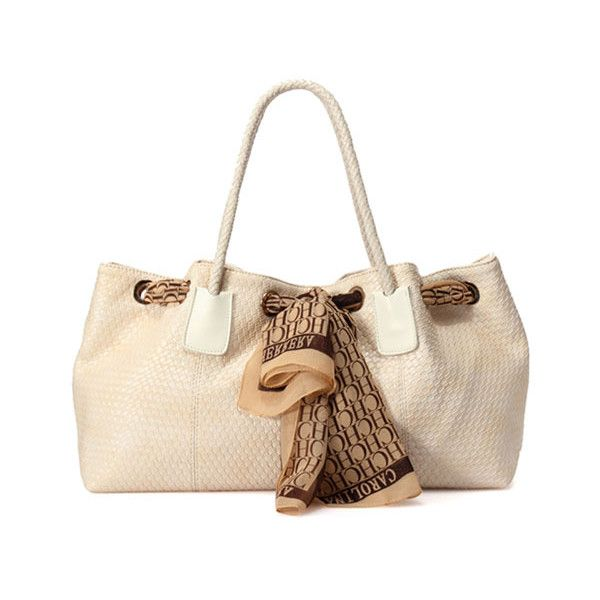 White PU Woven Bag with Scarf Detail ($63) found on Polyvore