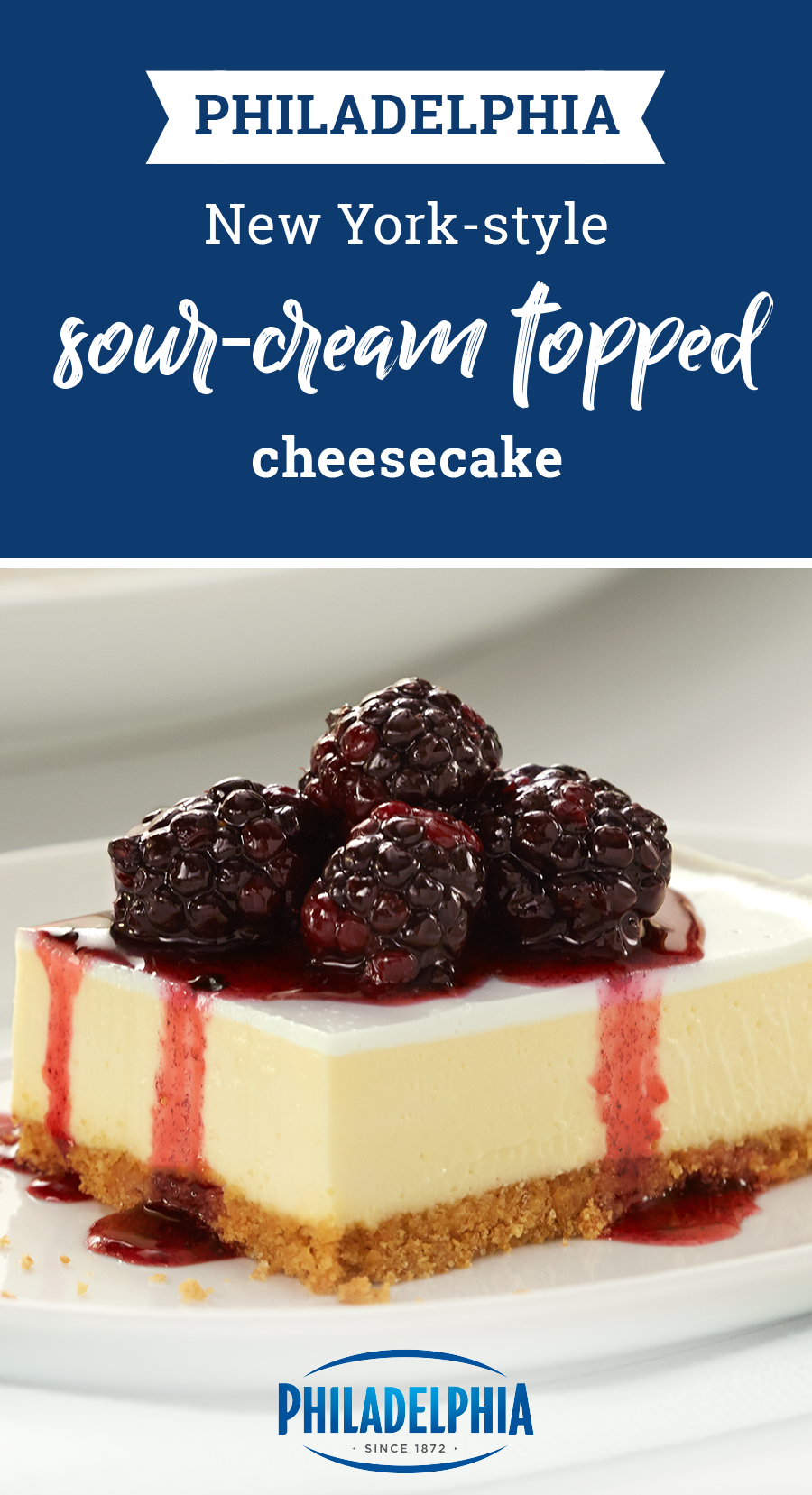 Philadelphia New York Style Sour Cream Topped Cheesecake Recipe Sour Cream Cheesecake Cream Cheese Recipes Dessert Graham Cracker Cheesecake Recipe