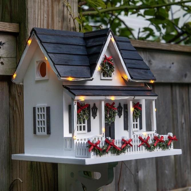 Lighted Holiday Birdhouse   Festive Birdhouses   Fun Bird House Gift – The Birdhouse Chick #birdhouseideas #birdhouses