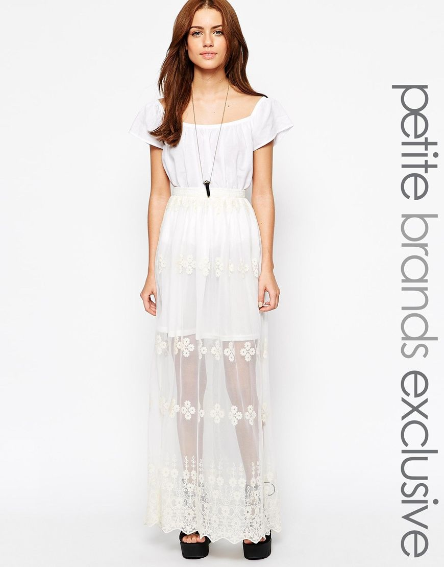 Glamorous Petite Lace Embroidered Maxi Skirt