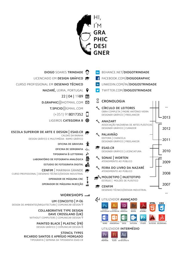 Hi, Iu0027m Graphic Designer - CV by Diogo Trindade, via Behance - advertising graphic designer resume