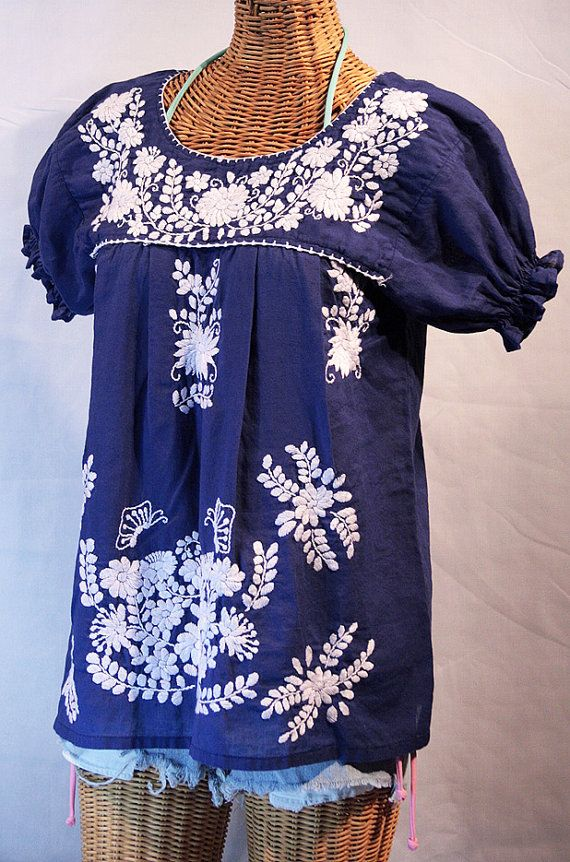mexican peasant blouse top hand embroidered quotla mariposa