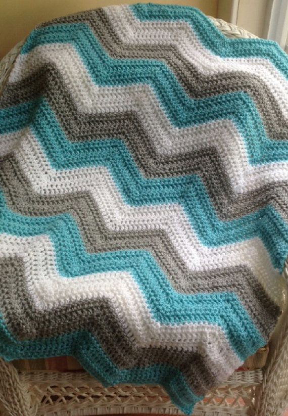 new chevron zig zag ripple baby blanket afghan wrap crochet knit ...