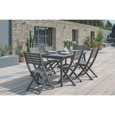 Table de jardin en bois gris foncé à l\'essence d\'acacia. L\'acacia ...