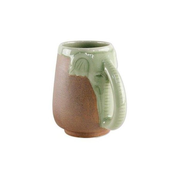 NOVICA Ceramic Celadon Thai Elephant Mug In Green And Brown ($65) ❤ Liked  On Polyvore Featuring Home, Kitchen U0026 Dining, Drinkware, Dinnerware, Green,  ...
