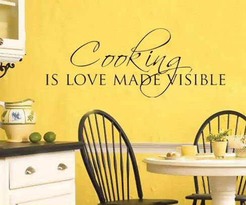Wall Art Sticker Decal KITCHEN DINING Room QUOTE Cooking Is Love Made