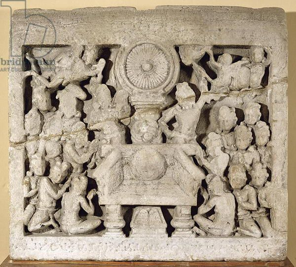 The Worship Of The Buddhist Symbols Amaravati Limestone Guntur