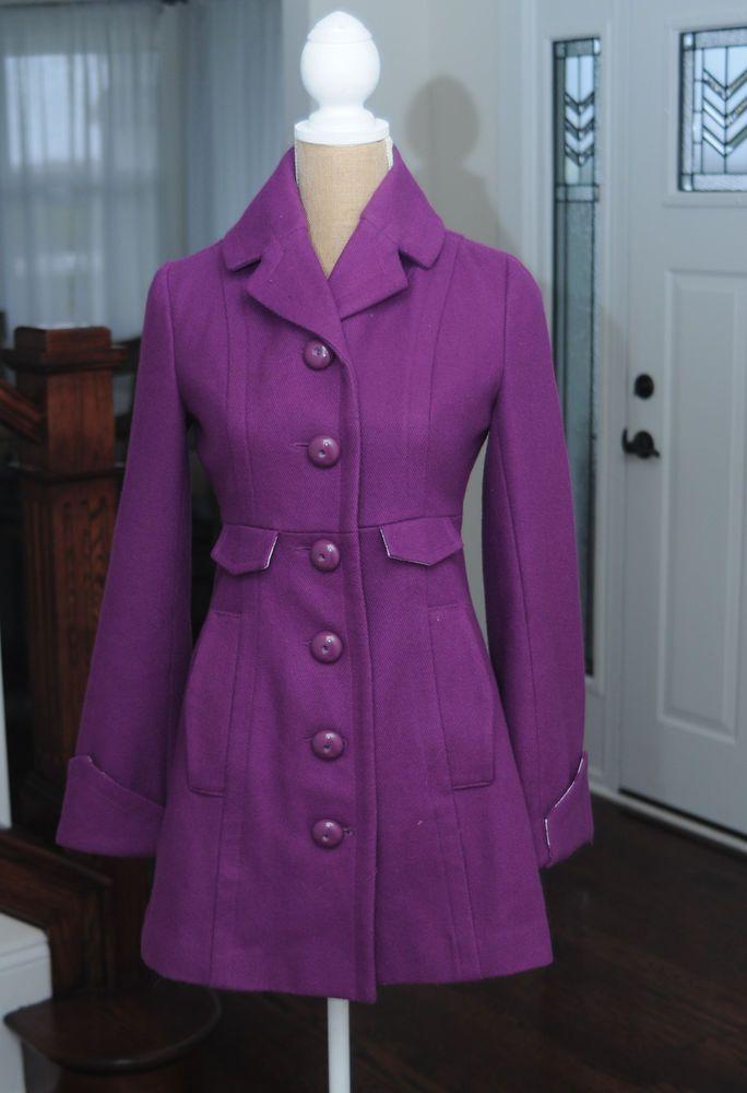 Womens Small Tulle Royal Purple Wool pea coat #Tulle #Peacoat ...