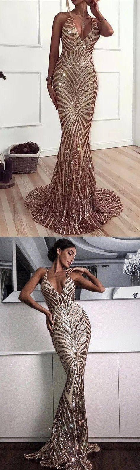 3a3ced52e1f Sexy V Neck Straps Mermaid Rose Gold Sequins Long Evening Dress with Train