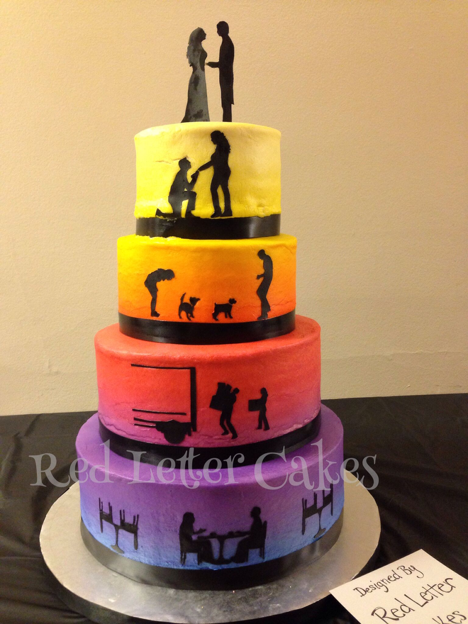Sunset wedding cake #cake #weddings #buttercream #sunset #airbrushed ...