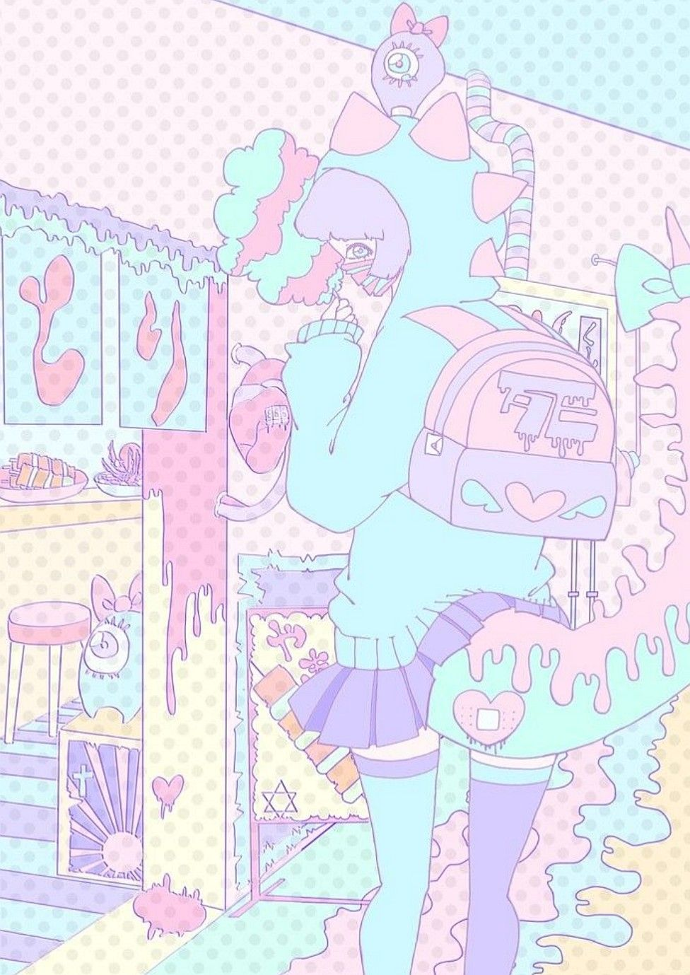 Aesthetic anime style doodle kawaii pastel cute wallpaper