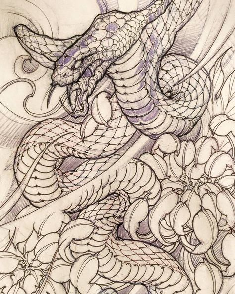 David Hoang On Instagram Back To Back Tiger Tattoo: Snake Sketch By: @davidhoangtattoo