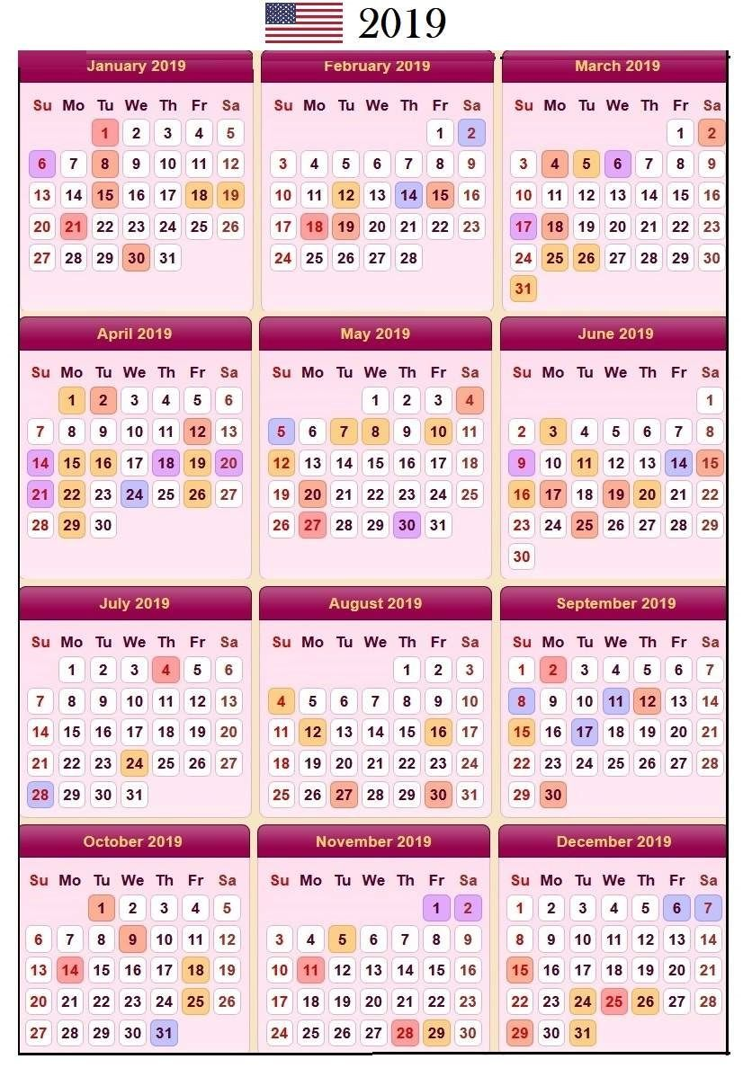 2019 Calendar Holidays In United States Usa Calendar