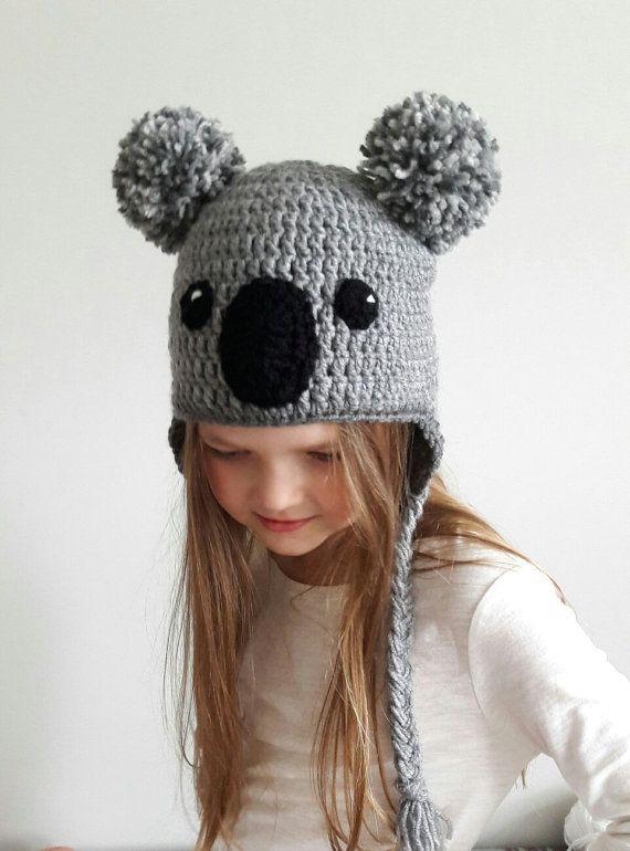 Koala Hat, Crochet hat, Kids Outfit, Baby Hat, Women Hat, Cute Kids ...