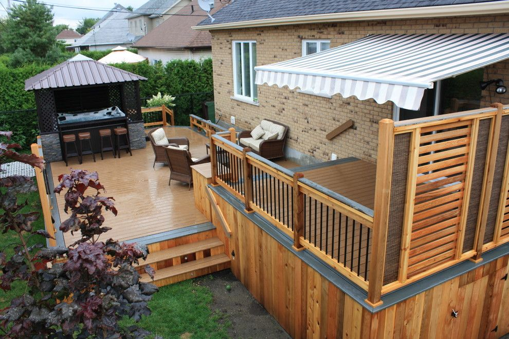 Semi Privacy Fence Deck Contemporary With Bois Traite