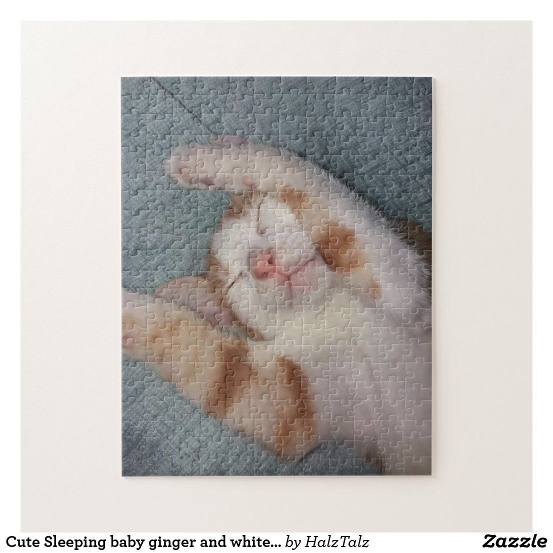 Cute Sleeping baby ginger and white tabby kitten Jigsaw Puzzle | Zazzle.com