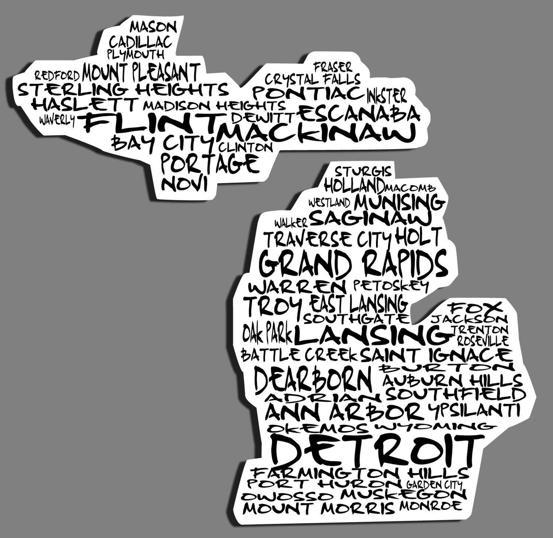 Cities Of Michigan Vinyl Car Decal Sticker Free Shipping Car Decals Michigan Decal Car Decals Vinyl [ jpg ]