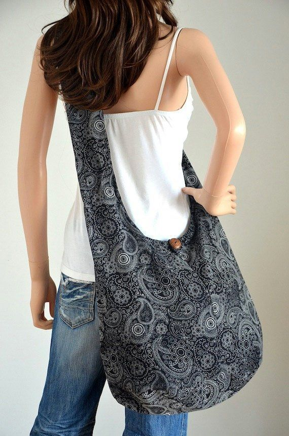 Black Paisley Cotton Bag Handbags Hippie Bag Hobo Bag Boho Bag Shoulder Bag Sling Bag Messeng