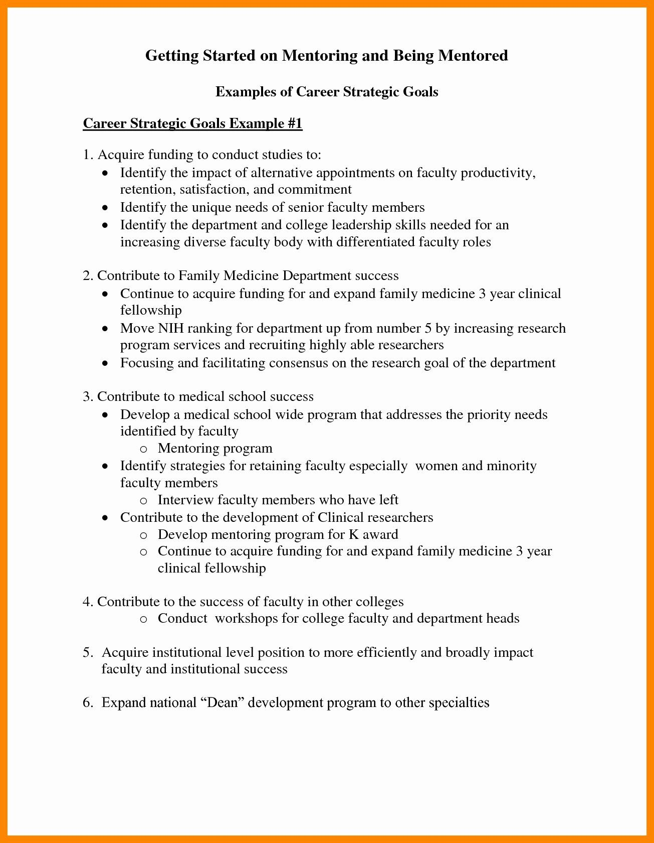 Professional Goal Statement New 30 Personal Mission Leadership Skills Nih Examples Example