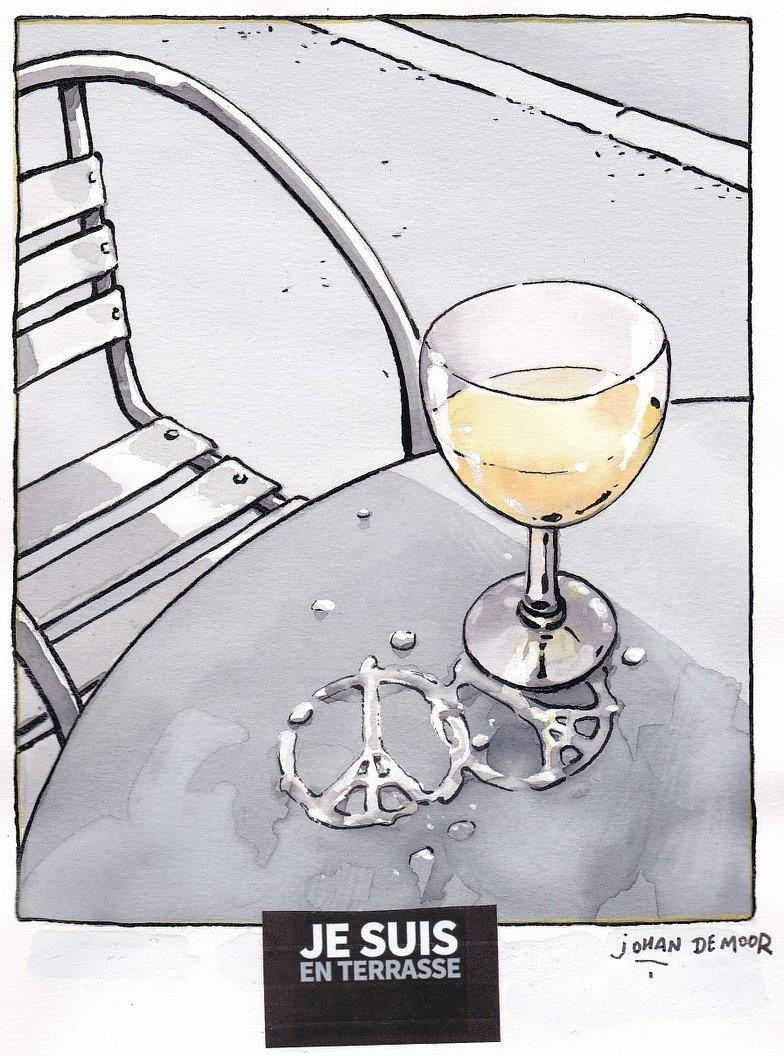 Je Suis En Terrasse pin op comics - johan de moor