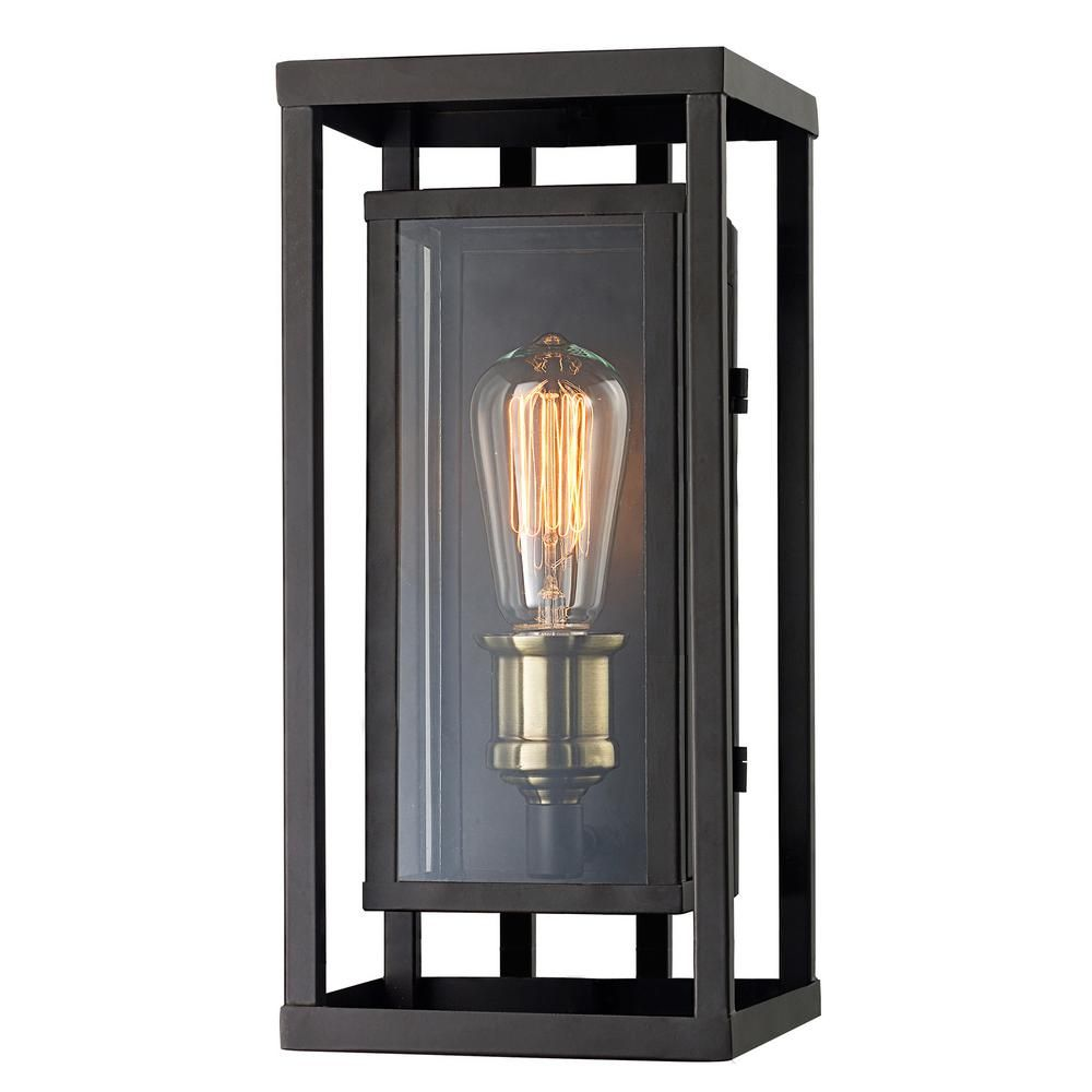 Monteaux Lighting Retro 1 Light Oil Rubbed Bronze And Antique Brass Outdoor Wall Lantern