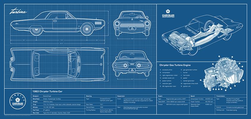 Rick vlaha all of chryslers original drawings of the turbine car vehicle malvernweather Gallery