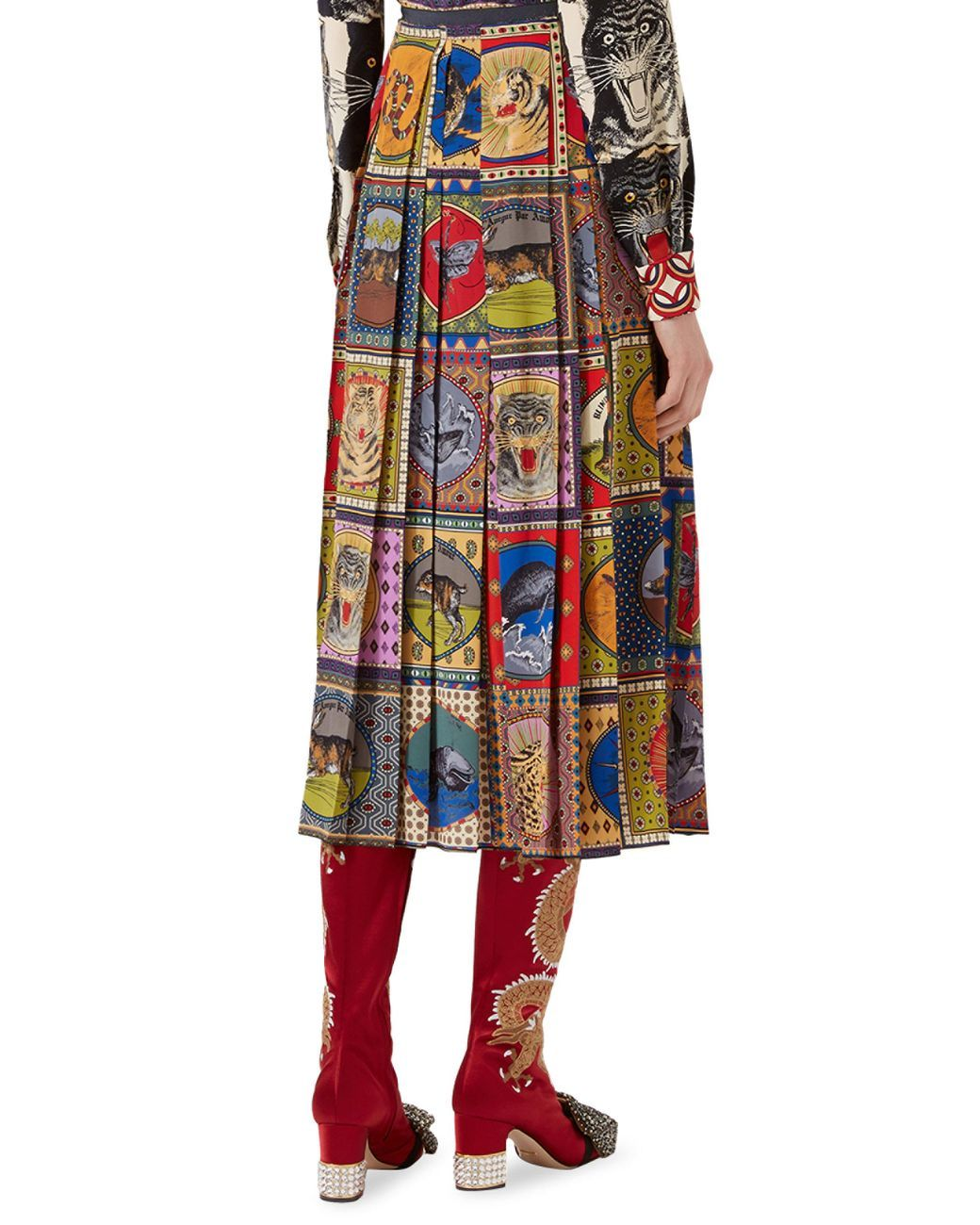 afa1a5a2311 Women's Pleated Tarot Card Skirt | Style | Printed skirts, Silk ...