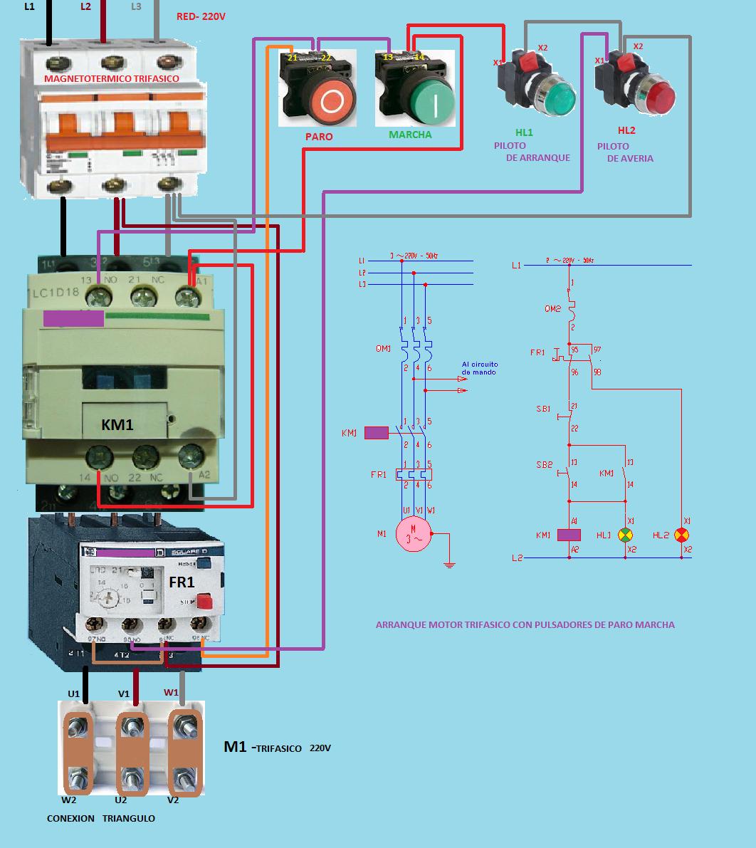 ARRANQUE MOTOR TRIFASICO CON PULSADORES PARO MARCHA | Electryc and ...