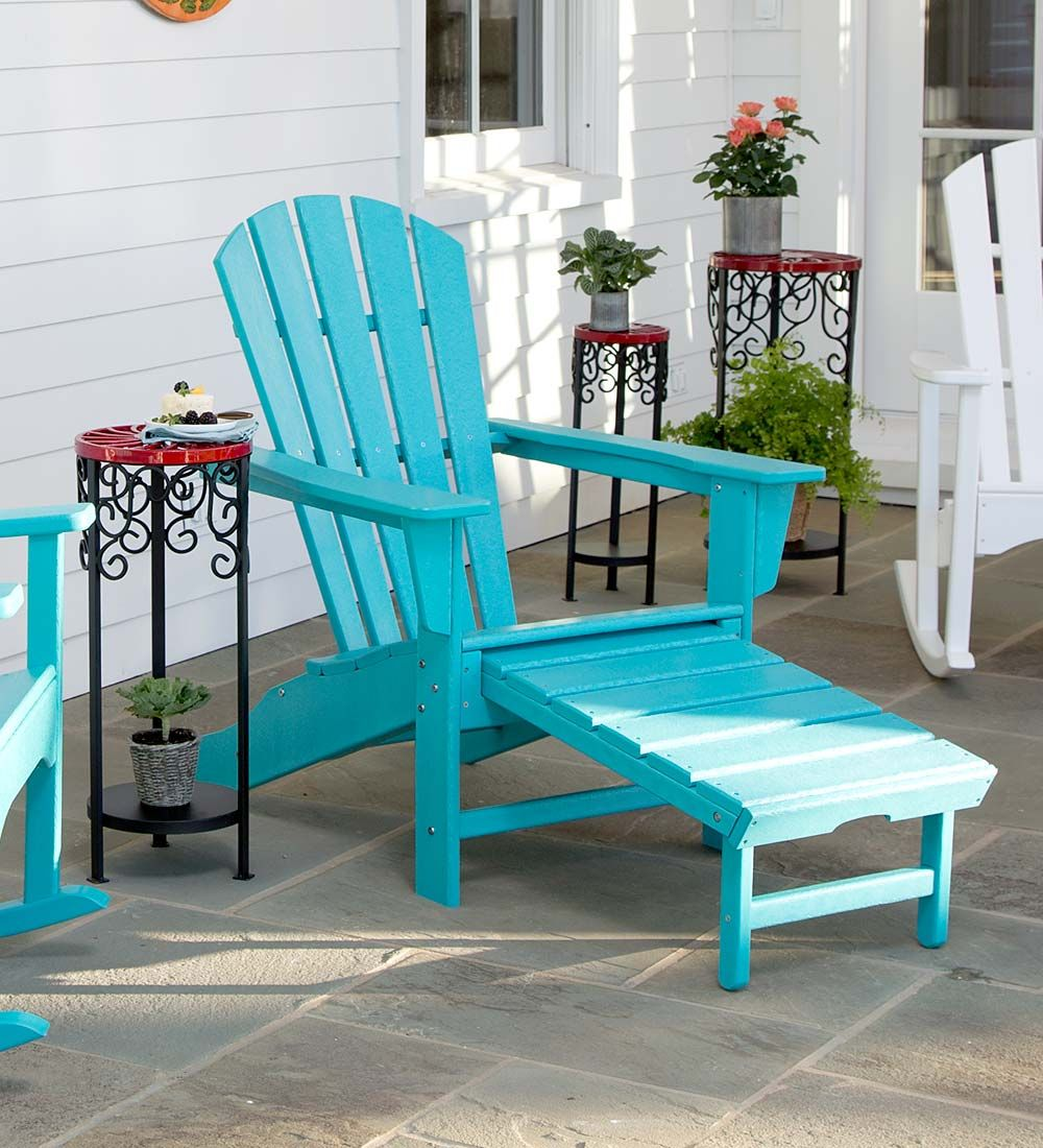 Polywood Adirondack Chair With Hideaway Ottoman Adirondack Chair Polywood Adirondack Chairs Garden Furniture