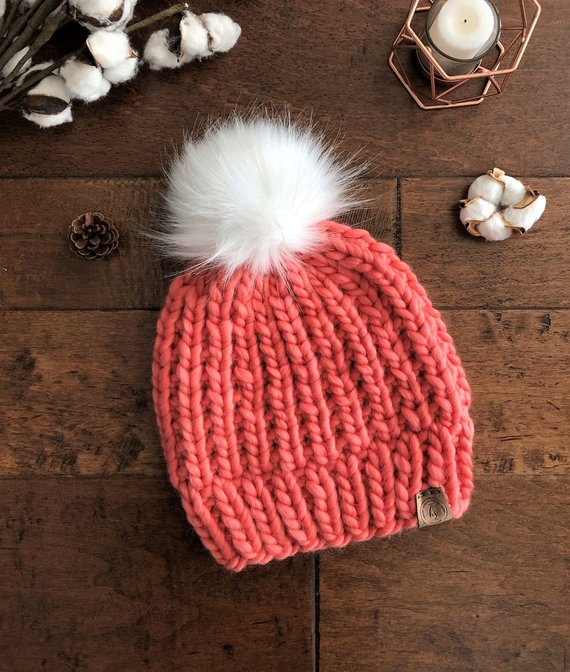 a3a53d8099d LUXURY LINE ADULT Chunky Knit Fur Pom Pom Hat Coral Pink Pom-Pom Beanie Bulky  Knitted Hat for Women