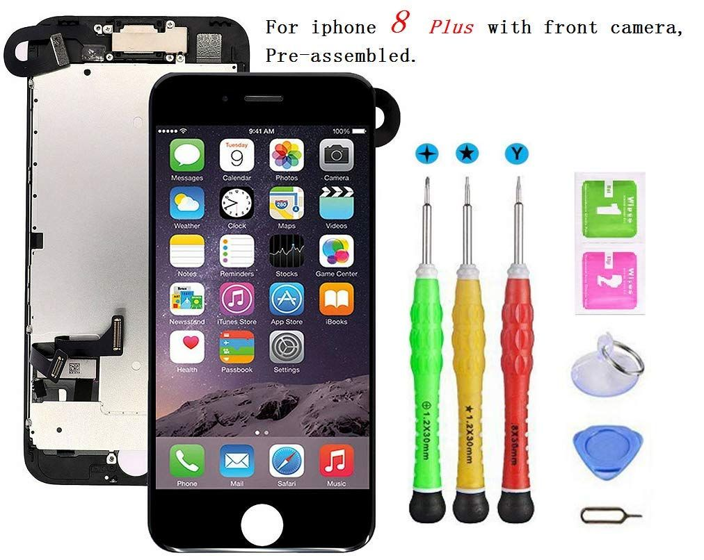 Screen Replacement Compatible With Iphone 8 Plus Full Assembly Lcd 3d Touch Display Digitizer With Sensors And Front Camera Fi Screen Replacement Iphone Lcd