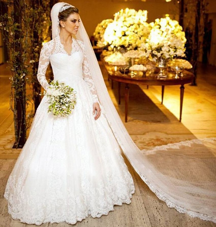 Romantic Elegant Sheer Muslim White Tulle A Line Vintage Lace Long ...