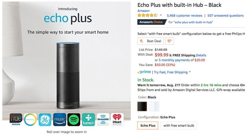 Deal Grab An Amazon Echo Plus For Less Than 100 Amazon Echo