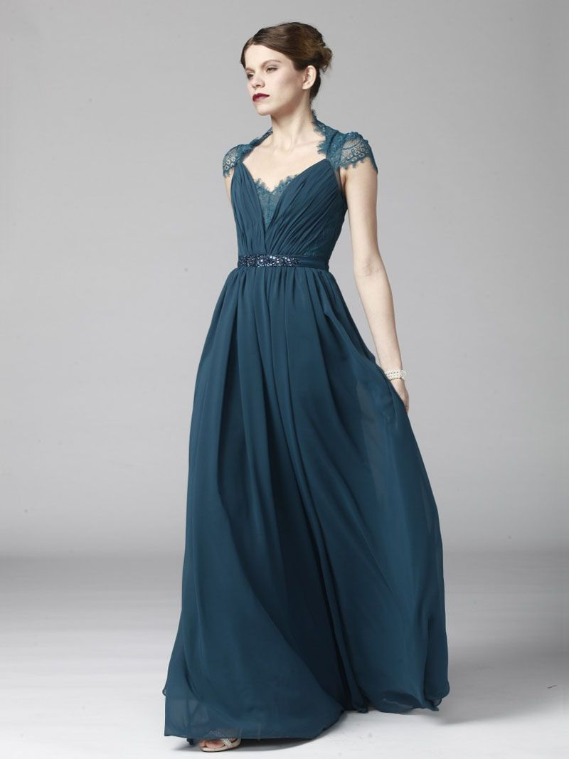 ink blue queen anne neck cap sleeve embroidered ruched chiffon prom dress c055b01bde93