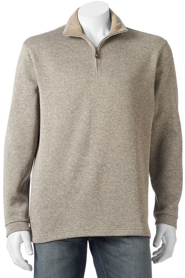 Men's Haggar Classic-Fit Quarter-Zip Fleece Sweater Pullover ...