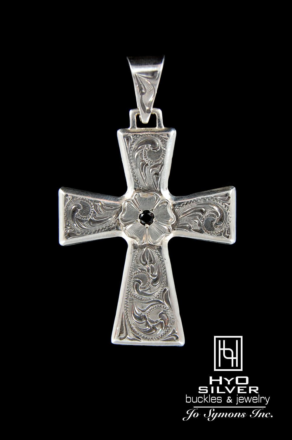 Vintage engraved silver cross pendant w paraiba blue topaz retro classic hyo silver design elements fuse for this striking vintage engraved silver cross pendant a mozeypictures Image collections