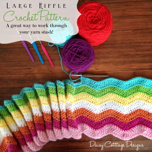 Crochet Ripple Blanket Pattern From Daisy Cottage Designs Chevron