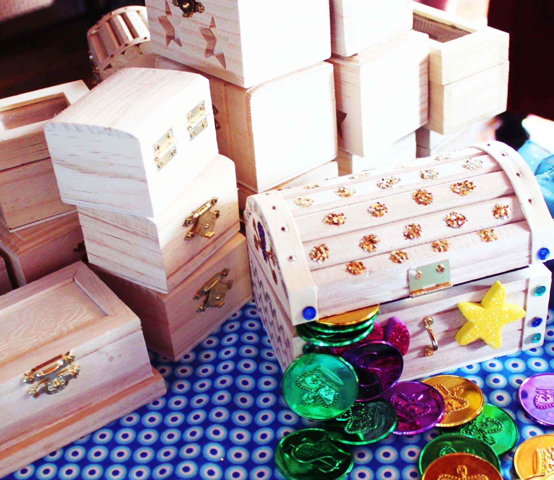 How To Decorate A Treasure Box Decorate Wooden Treasure Chests  Great Birthday Craft A Hit With