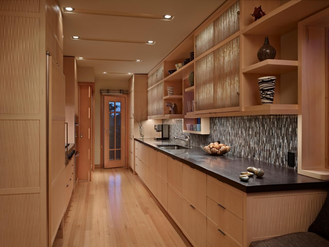 Contemporary Galley Kitchen Features Cedar Cabinets Kitchen Cabinets Pictures Alder Kitchen Cabinets Kitchen Style