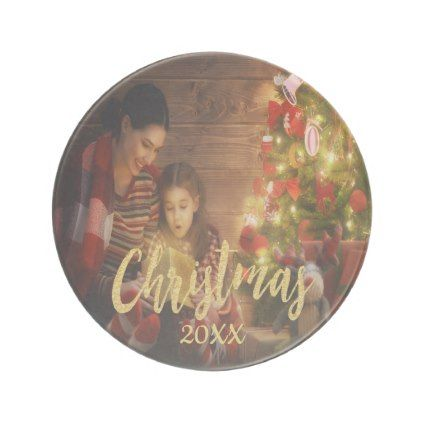 Christmas custom family photo with year gold text drink coaster