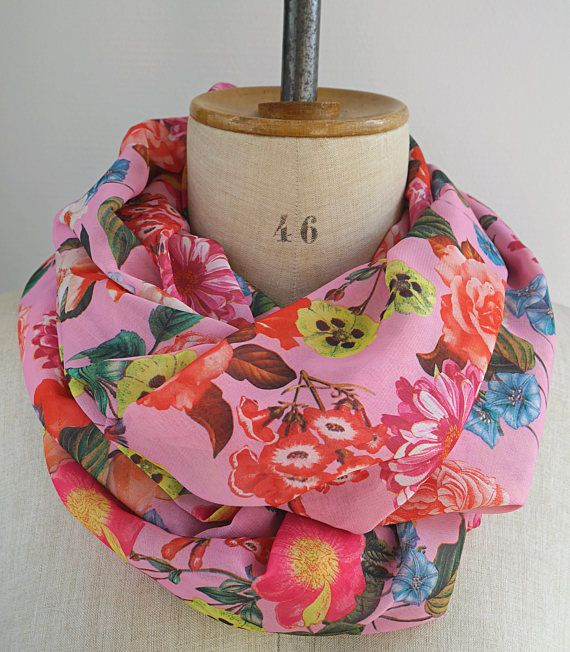 7f4e46f8f5cf Pink infinity scarf, pink round scarf, floral loop scarf, scarf with ...