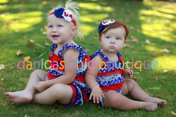 4th of july romper and a matching headband <3 Only $22.50 plus shipping!!!