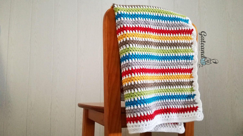 Baby crochet blanekt / Manta crochet bebé / algodón 100% Drops safran de GateandoCrochet en Etsy