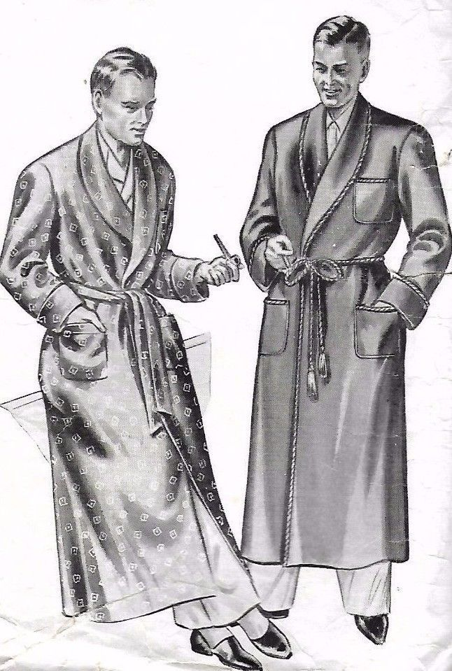24d339afc0 1940 s Vintage Sewing Pattern Men s Dressing Gown Robe Smoking Jacket Chest  38