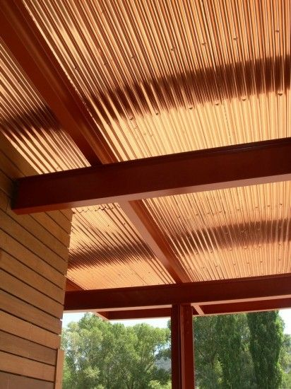 New Basalt Library Photos A4 Architects Copper Interior Corrugated Metal Wall Fibreglass Roof