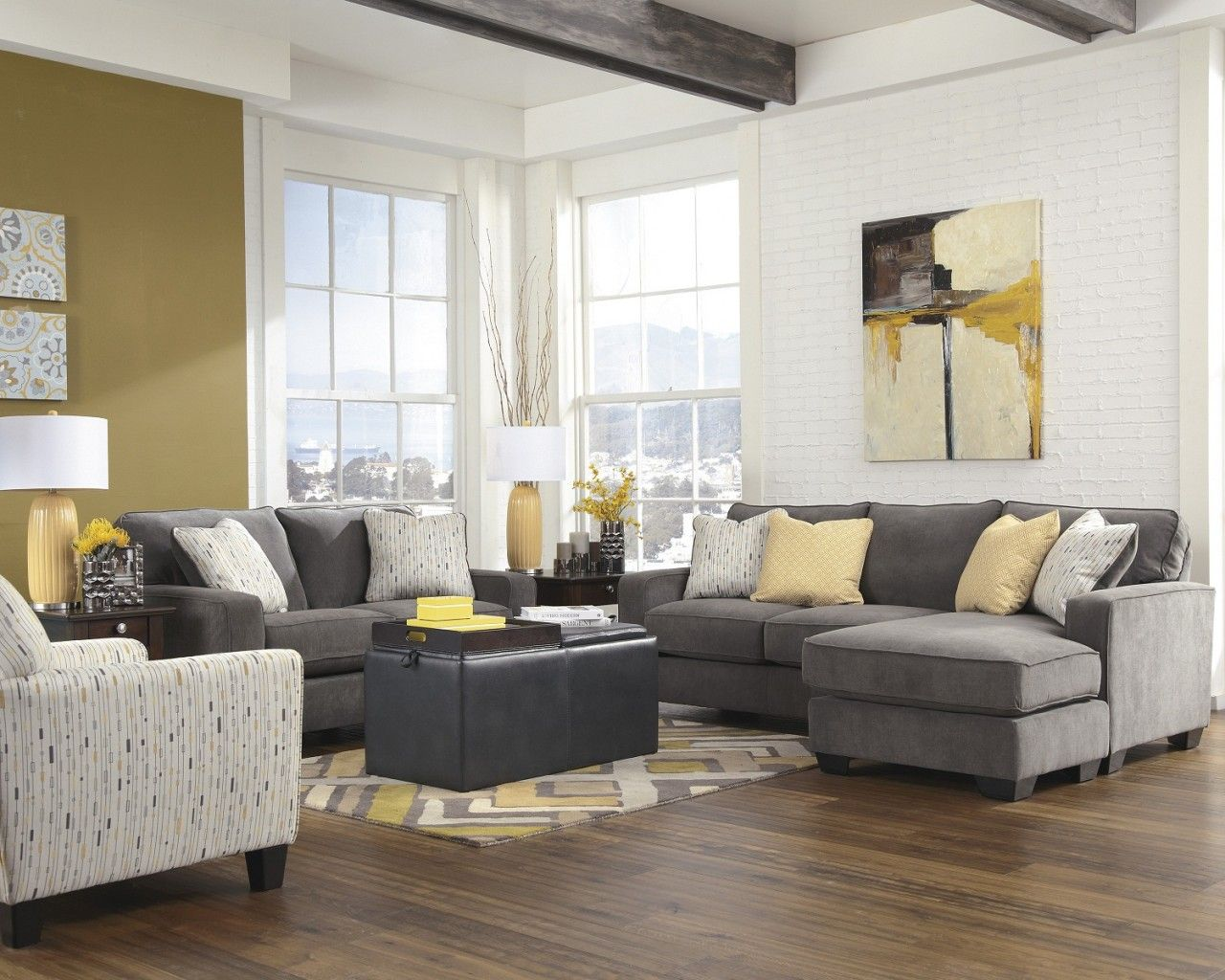 2-Piece Hodan Sofa Chaise Sectional Set in Marble   Marbles ...