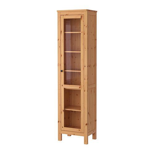 HEMNES Glass door cabinet IKEA $230 00 Solid wood has a natural feel With a glass door cabinet