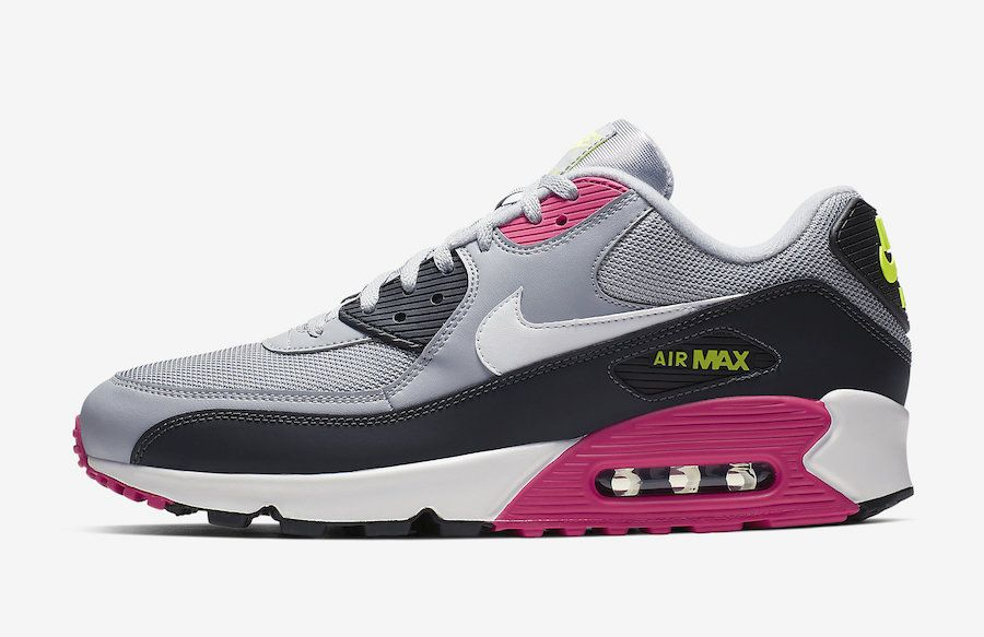 new arrival 79ceb 72105 Nike Air Max 90 Grey Pink Volt AJ1285-020 Release Date