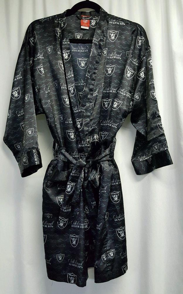 875c4ad2e17 NFL For Her Oakland Raiders black satin robe womens SZ S M  NFL   OaklandRaiders