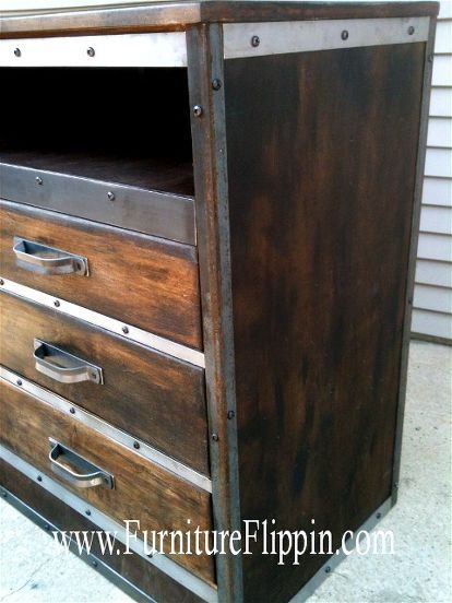 the ultimate dumpster diving flip aka dumpster dresser, diy, painted furniture, Wrapped in metal all the way around The finish looks oil soaked